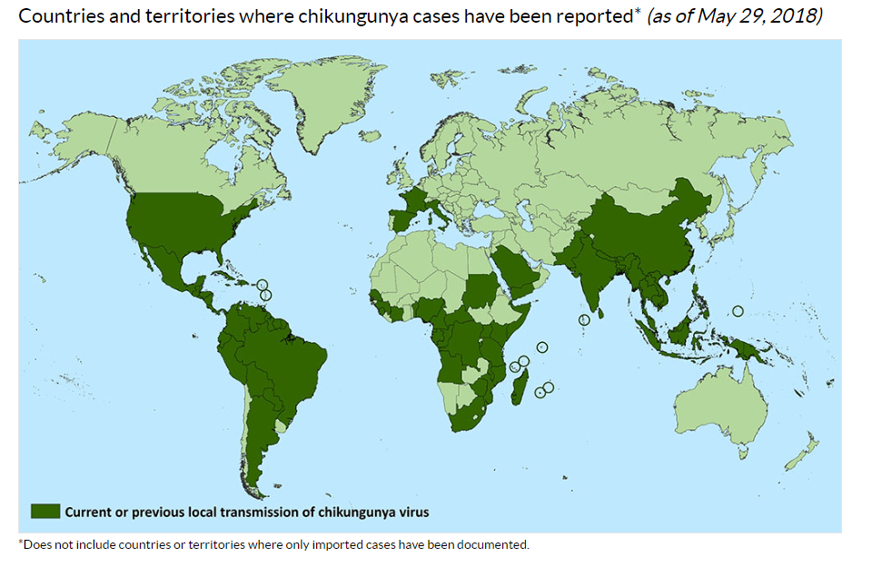 Geographic Distribution Chikungunya virus CDC