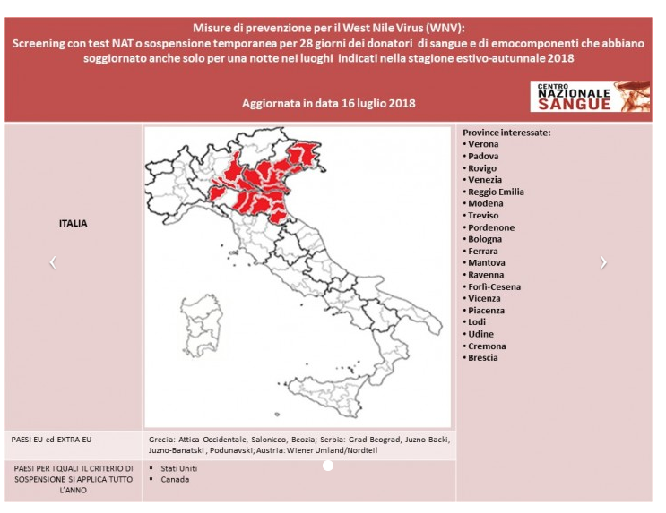 West Nile Virus 2018 Centro Nazionale Sangue